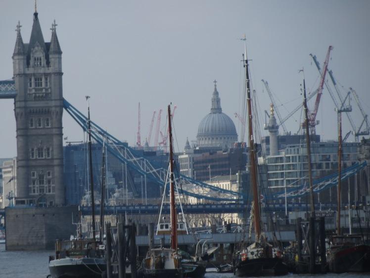 St Pauls Tower Bridge and Cranes