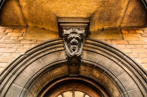 Arched eneterance door of cambridge University, UK